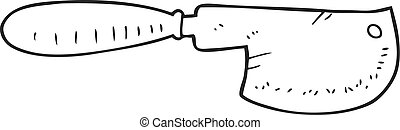 black and white cartoon meat cleaver - freehand drawn black...