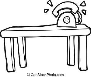 black and white cartoon phone ringing on desk - freehand...