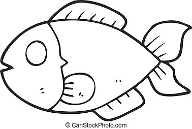Clipart Vector Of Cartoon Black And White Fish Drawing