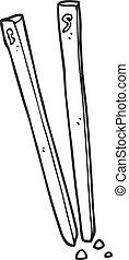 black and white cartoon chopsticks