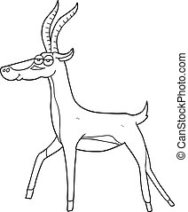 black and white cartoon gazelle - freehand drawn black and...