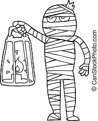 black and white cartoon mummy - freehand drawn black and...