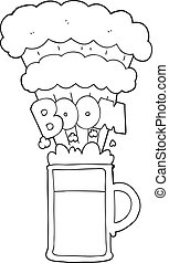 black and white cartoon exploding beer - freehand drawn...