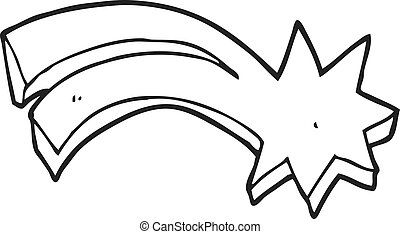 black and white cartoon decorative shooting star