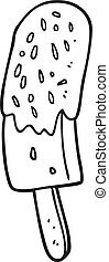 black and white cartoon ice lolly - freehand drawn black and...