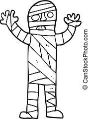 black and white cartoon bandaged mummy - freehand drawn...