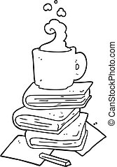 black and white cartoon books and coffee cup - freehand...