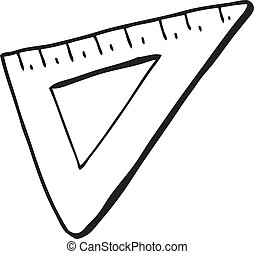 black and white cartoon set square - freehand drawn black...