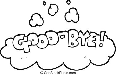 black and white cartoon good-bye symbol - freehand drawn...