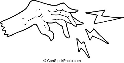 black and white cartoon hand casting spell - freehand drawn...