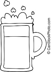 black and white cartoon tankard of beer - freehand drawn...