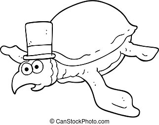 black and white cartoon turtle - freehand drawn black and...