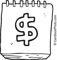 black and white cartoon note pad with dollar symbol -...