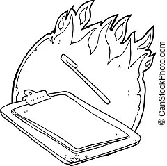 black and white cartoon clip board on fire - freehand drawn...