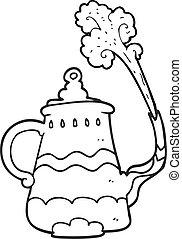 café, pote, fantasia, pretas, branca, caricatura