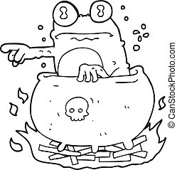 black and white cartoon halloween toad in cauldron -...