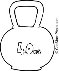 black and white cartoon 40kg kettle bell weight - freehand...