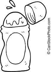 black and white cartoon roll on deodorant - freehand drawn...