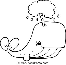 black and white cartoon whale spouting water - freehand...