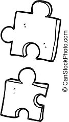 black and white cartoon jig saw pieces - freehand drawn...