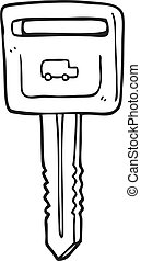 black and white cartoon car key - freehand drawn black and...