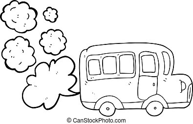 black and white cartoon yellow school bus - freehand drawn...
