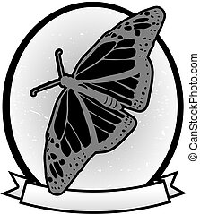 llustrated Gray scale Monarch Butterfly badge banner ad vector