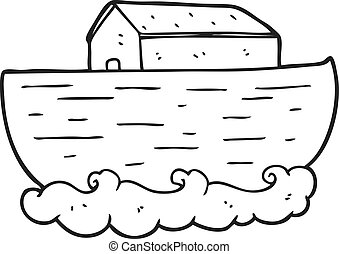black and white cartoon noah's ark - freehand drawn black...