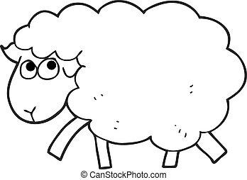 black and white cartoon sheep
