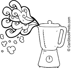 black and white cartoon blender going crazy - freehand drawn...
