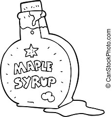black and white cartoon maple syrup bottle
