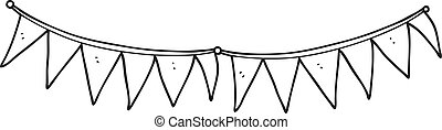 black and white cartoon bunting flags - freehand drawn black...