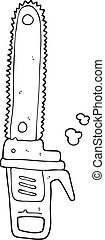 black and white cartoon chainsaw - freehand drawn black and...
