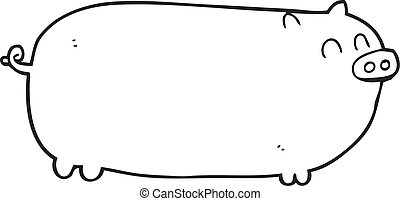 black and white cartoon pig