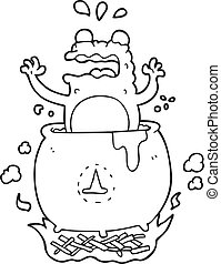 black and white cartoon funny halloween toad - freehand...