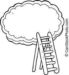 black and white cartoon ladder to heaven - freehand drawn...