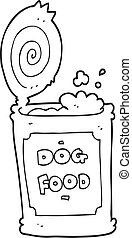 black and white cartoon dog food - freehand drawn black and...