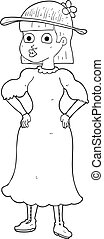black and white cartoon woman in muddy dress - freehand...
