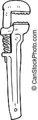 black and white cartoon adjustable wrench - freehand drawn...