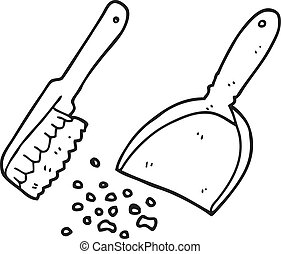 black and white cartoon dustpan and brush - freehand drawn...