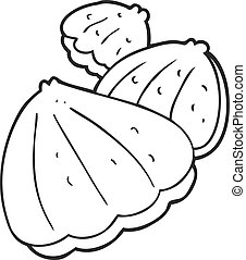 black and white cartoon oysters - freehand drawn black and...