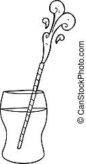 black and white cartoon fizzy drink - freehand drawn black...