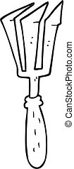 black and white cartoon gardening tool - freehand drawn...
