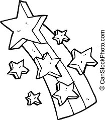 black and white cartoon shooting star