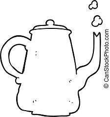 café, branca, pretas, pote, caricatura