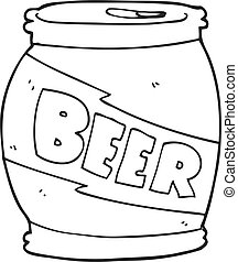 black and white cartoon beer can - freehand drawn black and...