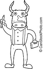 black and white cartoon bull man - freehand drawn black and...