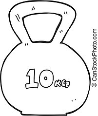 black and white cartoon 10kg kettle bell weight - freehand...