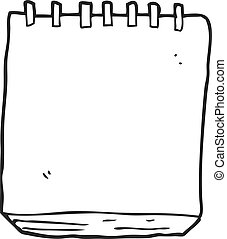 black and white cartoon note pad - freehand drawn black and...