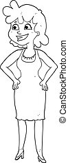 black and white cartoon happy woman wearing dress